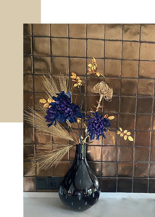 zijde bloemen goud